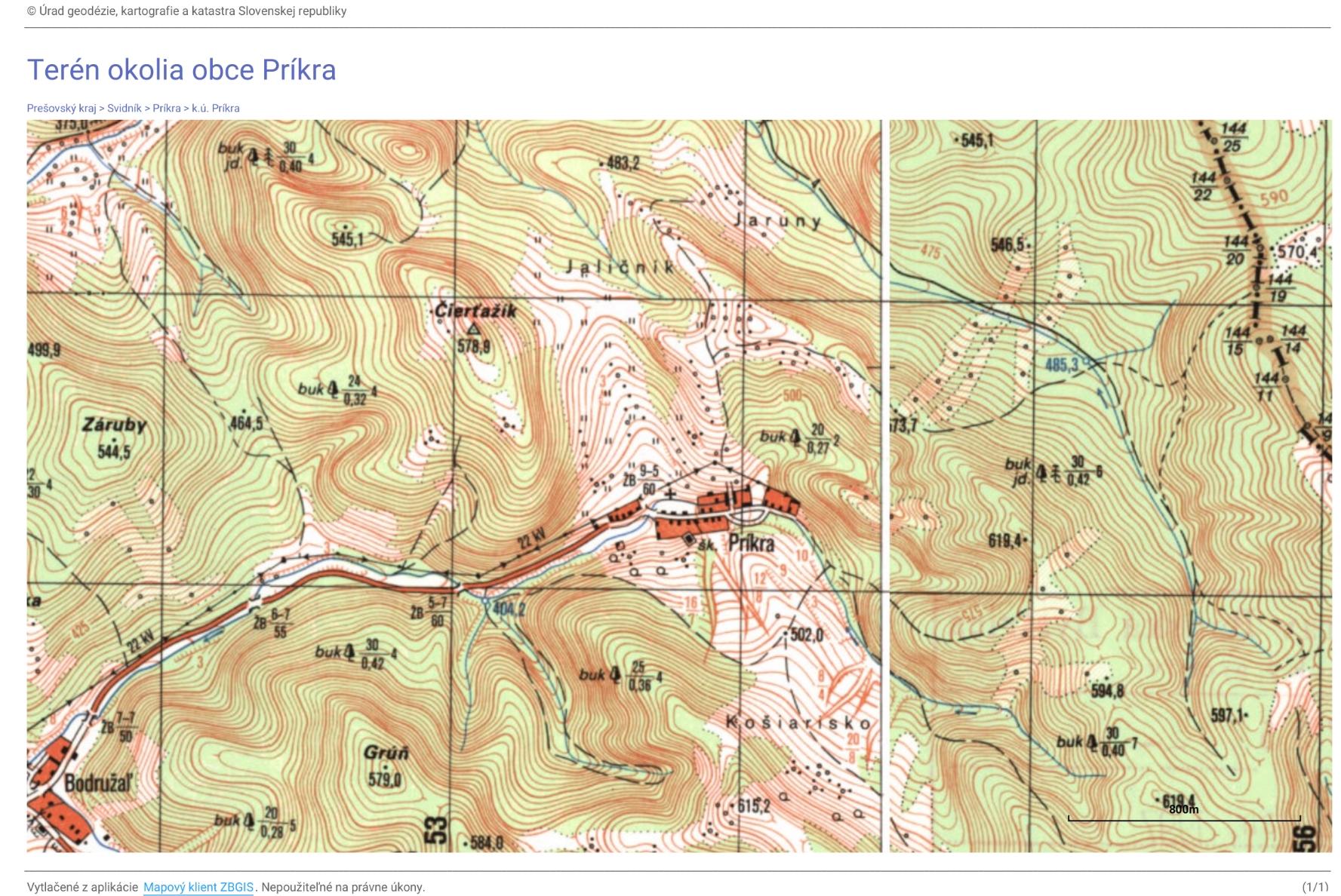 Terén obce Príkra a okolia