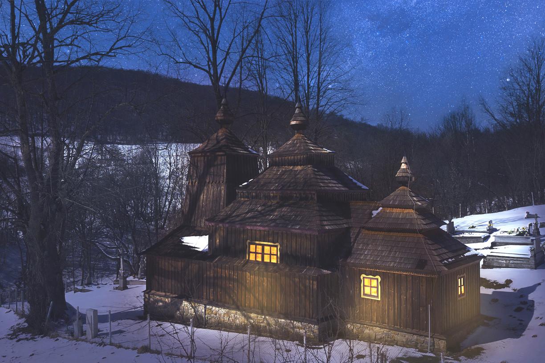 Drevený chrám v obci Príkra